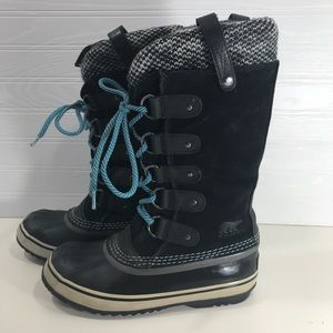 Sorel Joan of Arctic Knit Winter Boots Black 6